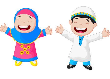 Illustration pour Happy Muslim kid cartoon - image libre de droit