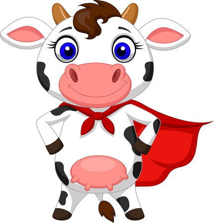 Super cow cartoon posing