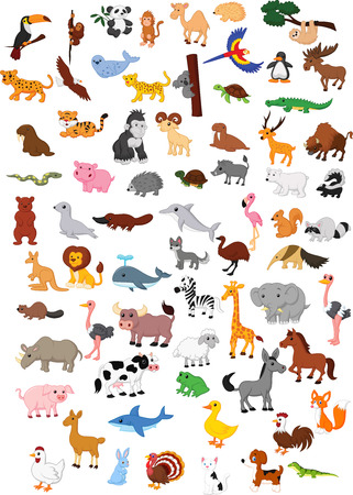 Illustration for Big animal cartoon set - Royalty Free Image
