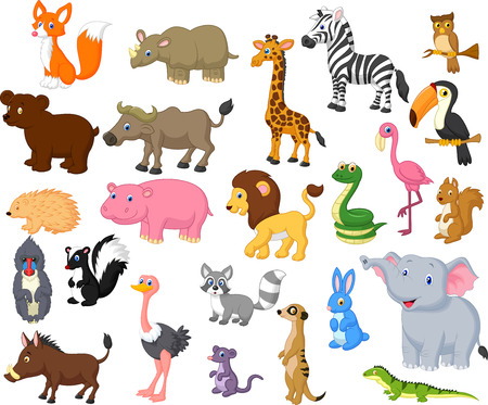 Wild animal cartoon collectionのイラスト素材