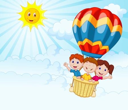 Ilustración de Happy kids riding a hot air balloon - Imagen libre de derechos