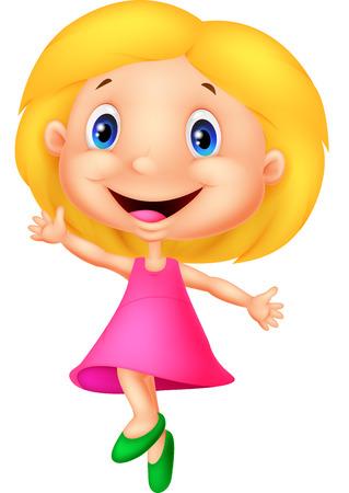Ilustración de Happy little girl cartoon - Imagen libre de derechos