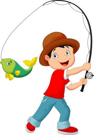 Illustration pour illustration of Cartoon Boy fishing - image libre de droit