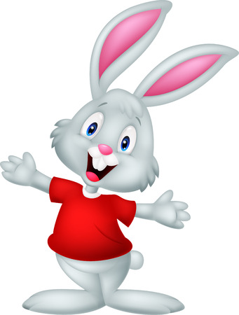 Illustration pour Cute happy baby rabbit cartoon - image libre de droit