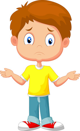 Illustration pour Doubtful young kid gesturing with hands - image libre de droit