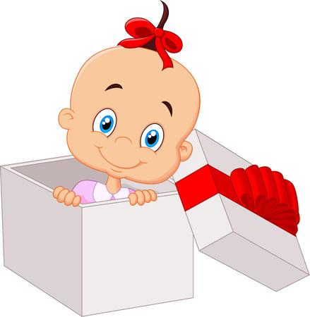 Little baby girl cartoon inside open gift box