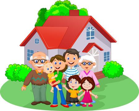 Photo for Happy cartoon family - Royalty Free Image