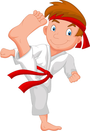 Little boy cartoon training karate