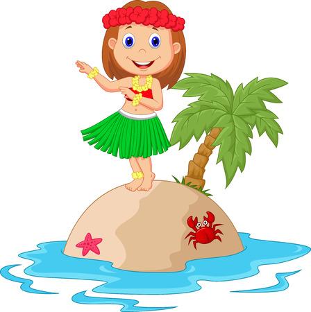 Illustration pour Cartoon Hula girl in the tropical island - image libre de droit
