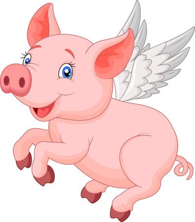 Ilustración de Cute pig cartoon flying - Imagen libre de derechos