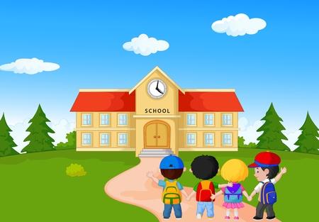 Happy young children cartoon walking together to school