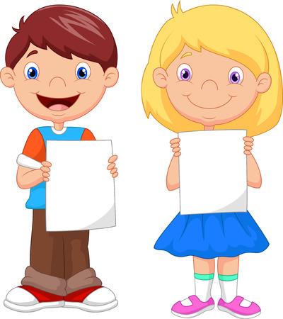 Little kids cartoon holding blank paper