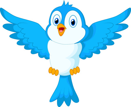 Cute cartoon blue bird flying