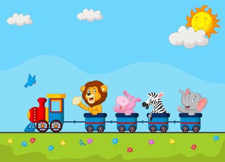 Illustration pour Cute animal cartoon on train - image libre de droit