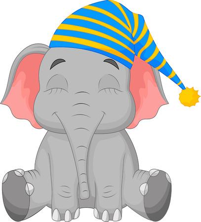 Foto de Sleeping Elephant cartoon in a cap - Imagen libre de derechos