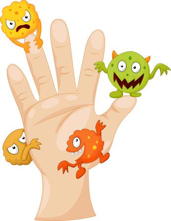 Illustration pour Dirty palm with cartoon germs - image libre de droit