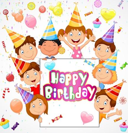 Birthday background with happy children cartoon