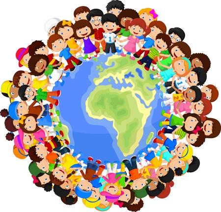 Illustration pour Multicultural children cartoon on planet earth - image libre de droit