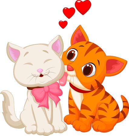 Illustration pour Cartoon cat licking - image libre de droit