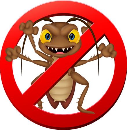 Stop cartoon cockroach illustration