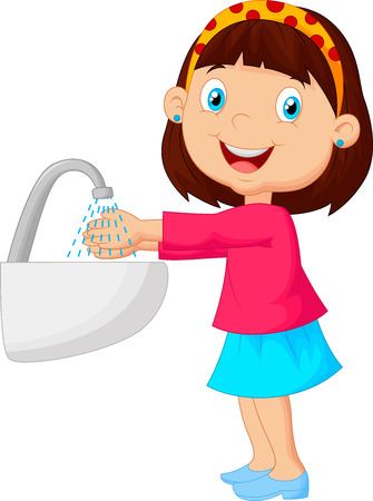Illustration pour Cute cartoon girl washing her hands - image libre de droit