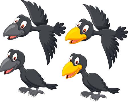 Illustration pour Cute cartoon raven - image libre de droit