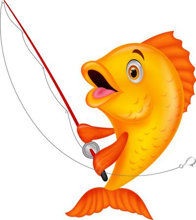 Cute fish cartoon holding fishing rod