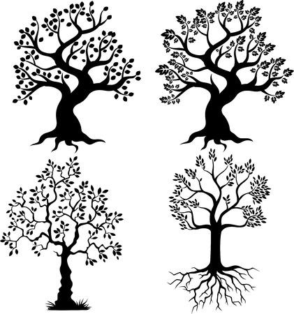 Illustration pour Tree silhouette cartoon - image libre de droit