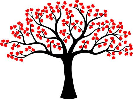 Stylized love tree cartoon made of hearts