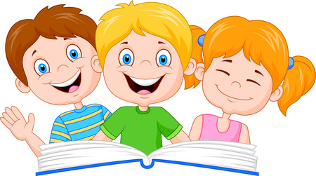Illustration for Cartoon kids reading book - Royalty Free Image