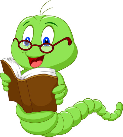 Illustration for Cartoon worm reading book - Royalty Free Image