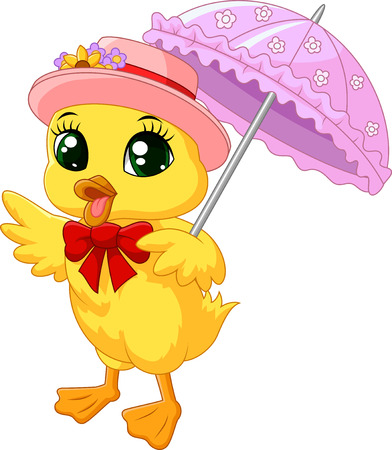 Illustration for Cute cartoon duck with pink umbrella - Royalty Free Image