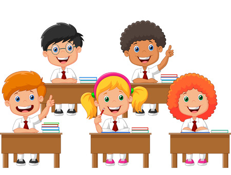 Photo for School children cartoon in classroom at lesson - Royalty Free Image