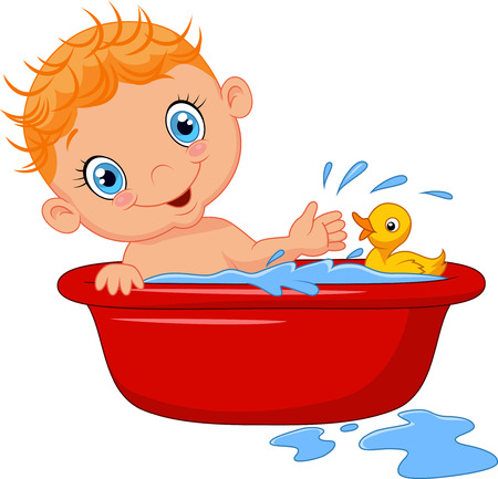 Cartoon baby in a bath splashing water