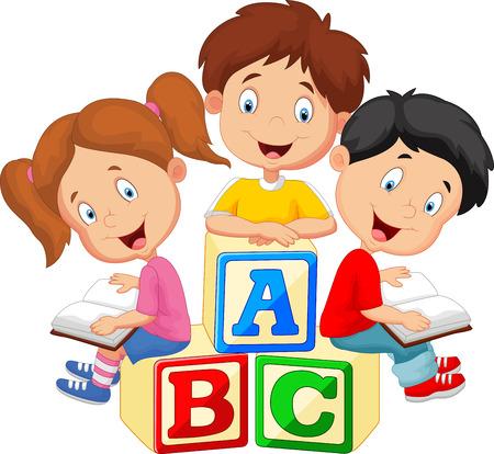 Children cartoon reading book and sitting on alphabet blocks