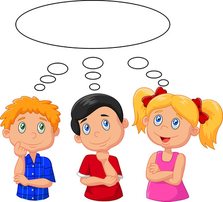 Illustration pour Cartoon kids thinking with white bubble - image libre de droit