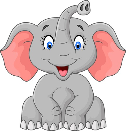 Ilustración de Cute elephant cartoon sitting - Imagen libre de derechos