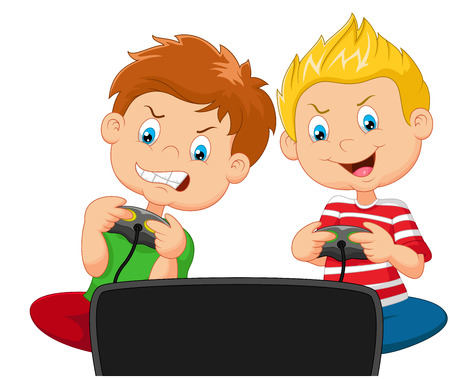 Little boys cartoon playing video game