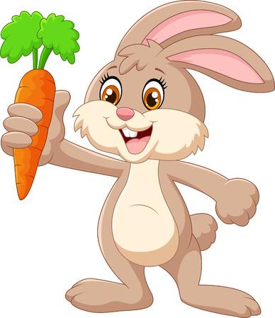 Illustration pour Cartoon happy rabbit holding carrot - image libre de droit