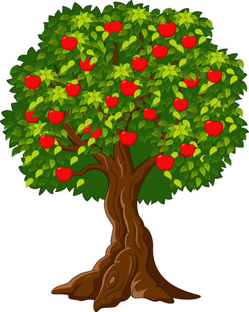 Cartoon Green Apple tree full of red apples i