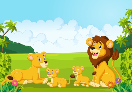 Illustration for Cartoon lion family - Royalty Free Image