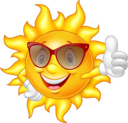 Illustration pour Cartoon sun giving thumb up - image libre de droit