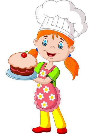 Vektor für Cartoon little girl holding cake on white background - Lizenzfreies Bild