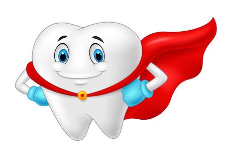Illustration pour Happy superhero healthy tooth - image libre de droit
