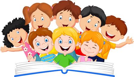 Foto de Cartoon little kid reading book funny - Imagen libre de derechos