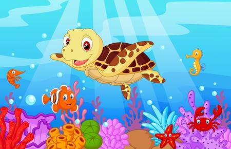 Illustration pour Cartoon baby cute turtle with collection fish - image libre de droit