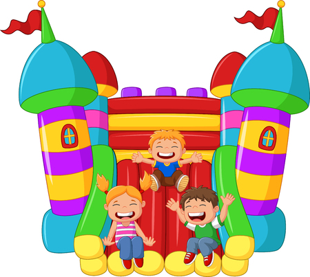 cartoon little kid playing slide on the inflatable balloon