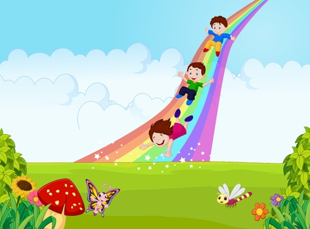 Foto de Cartoon little kids playing slide rainbow in the jungle - Imagen libre de derechos