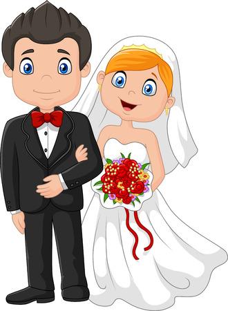Happy wedding ceremony bride and groom. vector illustration