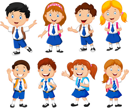 Illustration pour Illustration of school children cartoon - image libre de droit
